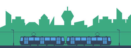 Traffic in the city, tram and city on white background, vector illustration Ilustrace