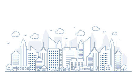 Thin line style city panorama. Illustration of urban landscape street with cars, skyline city office buildings, on light background. Outline cityscape. Wide horizontal panorama. Vector illustration Ilustrace