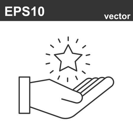 Hand with star. Vector Loyalty program line icons on white