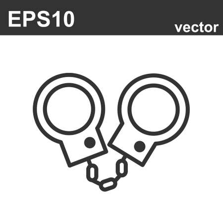 handcuffs icon on white. Law and judgement line icon. Vector object Ilustração