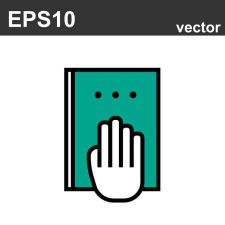 Book with hand. Flat line icons set of mental wellness, best friends society. Unique color flat design pictogram with outline elements. Premium quality vector graphics concept for web.  イラスト・ベクター素材
