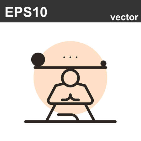 Yoga icon. Flat line icons set of mental wellness, best friends society. Unique color flat design pictogram with outline elements. Premium quality vector graphics concept for web.
