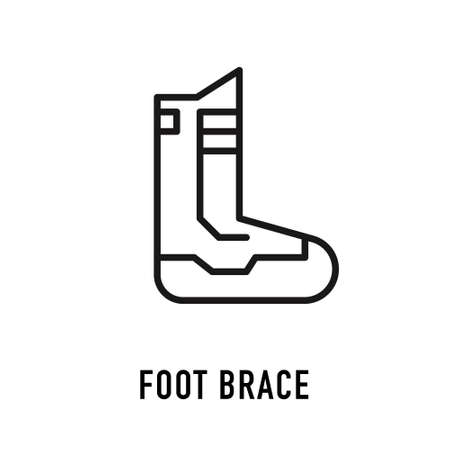 Foot ankle brace linear icon. Foot orthosis. Thin line illustration. Leg brace. Adjustable ankle joint bandage. Joint pain relief. Contour symbol. Vector isolated outline drawing. Editable stroke Stock Illustratie