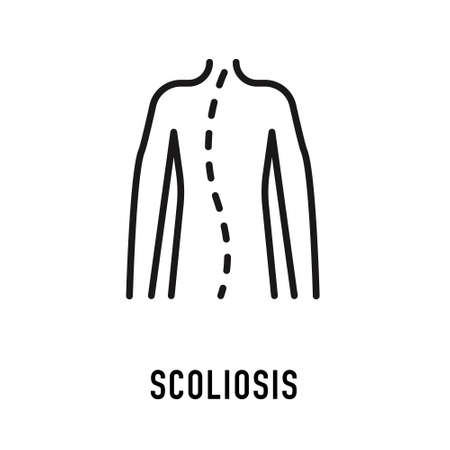 Scoliosis, posture correction icon, orthopedic vector line . Flat medical sign for hospital Ilustrace