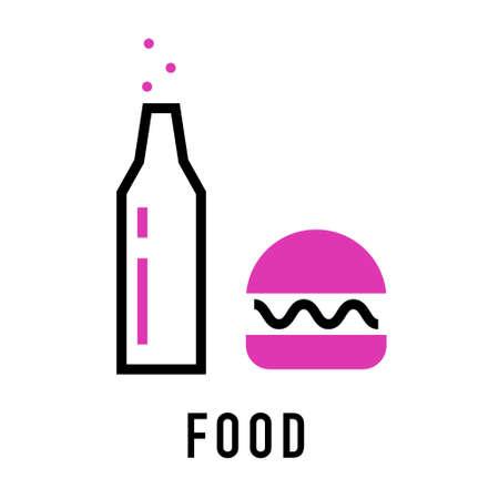 Vector food icon on white. Bottle with hamburger. Coffee break