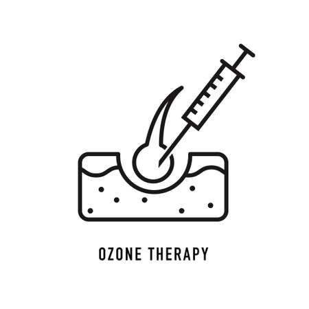 Ozone therapy line icon. Hair follicle, injection, syringe. Beauty care concept. Vector illustration can be used for topics like hair loss, alopecia, treatment Vettoriali