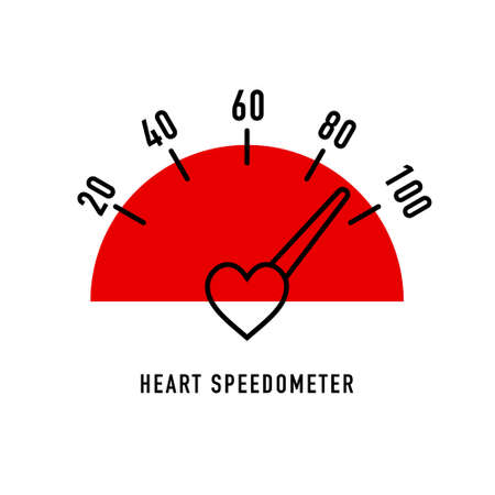 Heart Speedometer in flat style on white background. Heath care Illustration