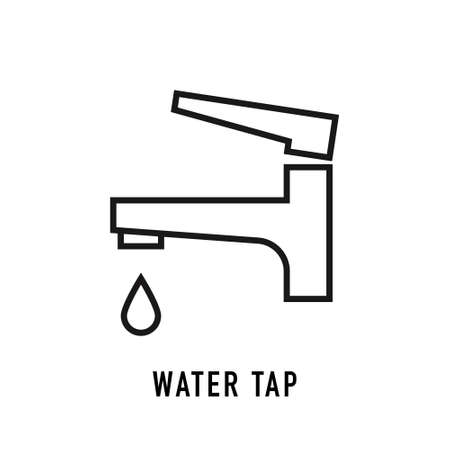 Water tap icon in line style on white. Vector illustration