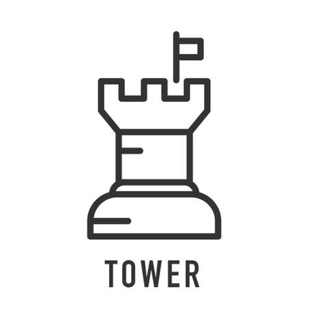 Castle tower icon in line style. Vector icon grey