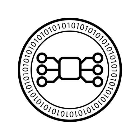 Nodes digital coin icon. Vector flat coin cryptocurrency symbol.