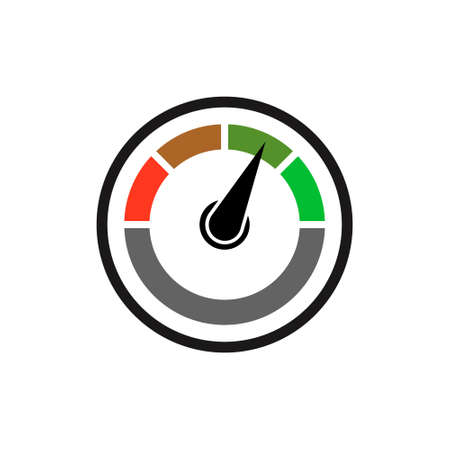 Speedometer icon on white background. Colorful Info-graphic. Vector