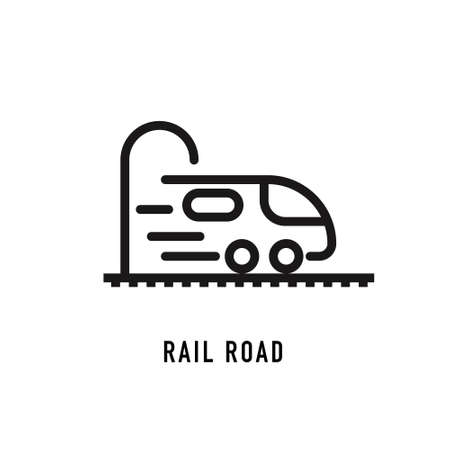 Rail road icon in line style on white background. Vector sign