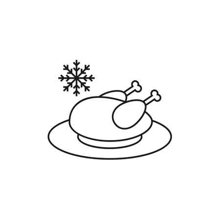 Frozen chicken line icon on white background. Food icon
