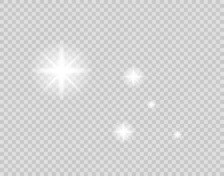 Set of gold glowing light effects isolated on transparent background. Glow light effect. Star exploded sparkles. Vector illustration