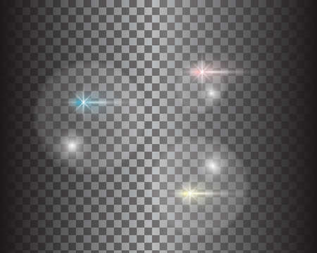 Set of gold glowing light effects isolated on transparent background. Glow light effect. Star exploded sparkles. Vector illustration Vettoriali