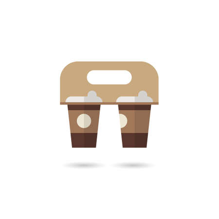Coffee Cups Holder Set Vector. Realistic Mockup. Empty Packaging For Carrying. Hot Drink. Take Away Cafe Coffee Cups Holder Mockup. Isolated Illustration