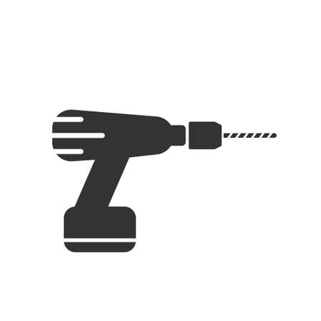 Drill icon in flat style on white. Vector sign