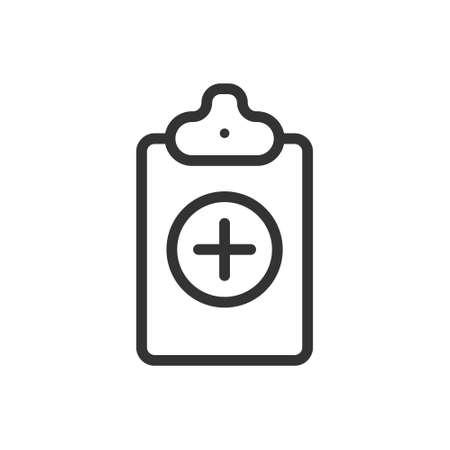 Vector medical insurance icon. Premium quality graphic design element. Modern sign, linear pictogram, outline symbol, simple thin line icon Foto de archivo - 138273751