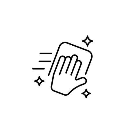 Handabwischen mit Stoffvektorsymbol auf weißem Hintergrund Vektorgrafik