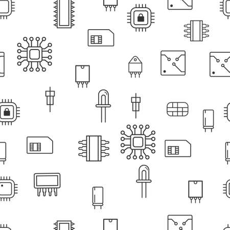 Seamless pattern Computer microchip line icons. Vector illustration