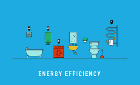 Energy consumption of electric devices for bathroom vector illustration. Bathroom interior with washing machine, heated towel rail, water heater, fan and energy efficiency rank line art concept.