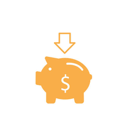 Piggy bank with coin vector illustration. Icon saving or accumulation of money, investment. Icon piggy bank in a flat style, isolated from the background. The concept of banking or business services. Stock Illustratie