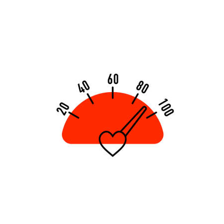 Heart Speedometer in flat style on white background. Heath care Ilustrace