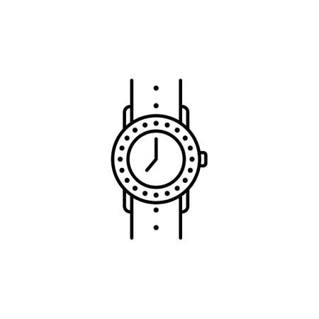 women jewelry clock icon on white. Vector