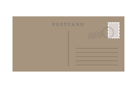 Blank template of a backside of travel postcard on white background