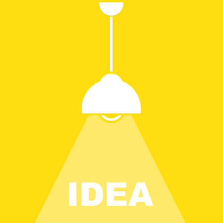 Table office desktop lamp with light lights bulb. Business vector background