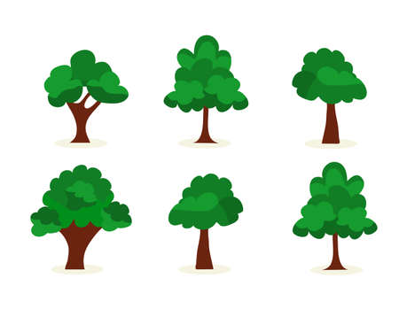 Trees, Hedges And Bush Set Illustration of a set of cartoon spring or summer trees and other green forest elements, with bush, hedges
