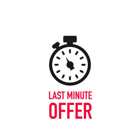 last minute offer with clock. Flat icon on white