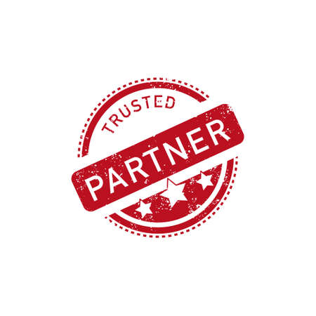 Rubber stamp and office supplies on a paper background with the text trusted partner. Company partnership and trust. Vector