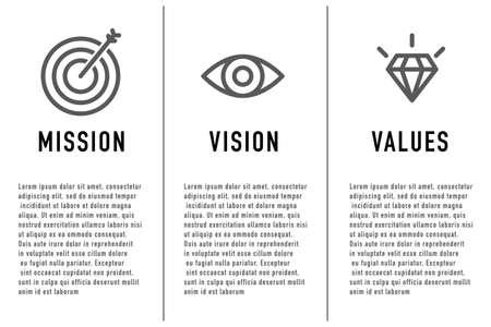 Mission et vision, valeurs. Modèle de page Web. Concept de design plat moderne. Vecteur