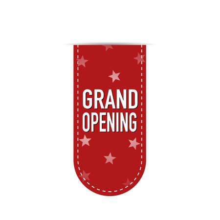 Grand opening banner design over a white background, vector illustration