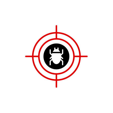 Malware bug in target vector icon. Network Vulnerability - Virus  イラスト・ベクター素材