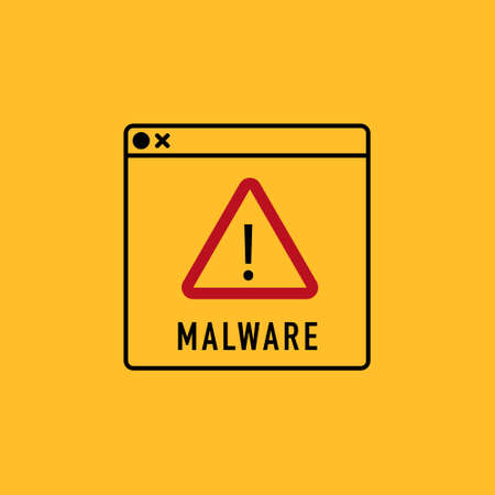 program code warning of a detected malware script program. Vector sign  イラスト・ベクター素材
