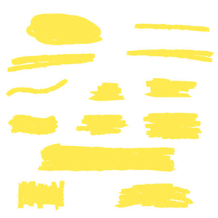 Highlight Marker yellow line, color stroke, brush pen hand drawn underline. Abstract permanent marker line, pencil texture paint drawn set. Vector