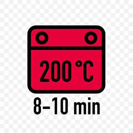 Food cooking package instruction vector label icons. Food cooking in microwave and baking in oven with temperature and time minutes recommendation