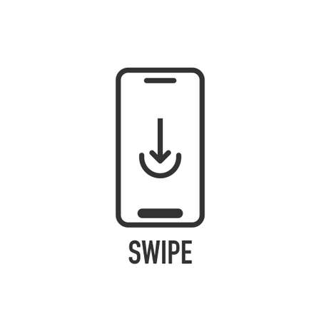 Upload icon on smartphone screen in line style. Vector illustration
