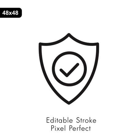 Shield icon in line style on white. Vector sign
