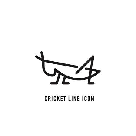 Cricket vector icon on white background. Line concept