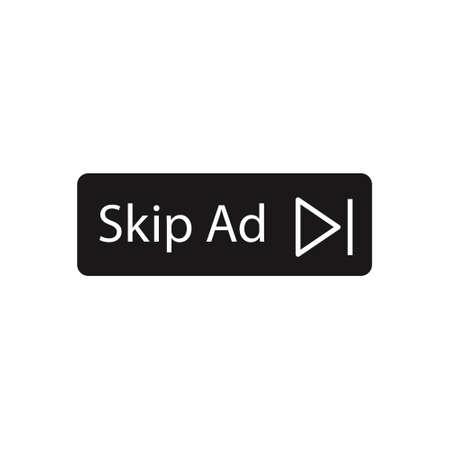 Skip ad black vector button. Block advertisement icon. Illustration