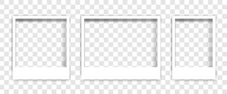 Set empty white photo frame with shadows - stock vector Ilustración de vector
