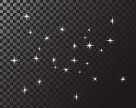 gold glowing light effects isolated on transparent background. Glow light effect. Star exploded sparkles. Vector illustration