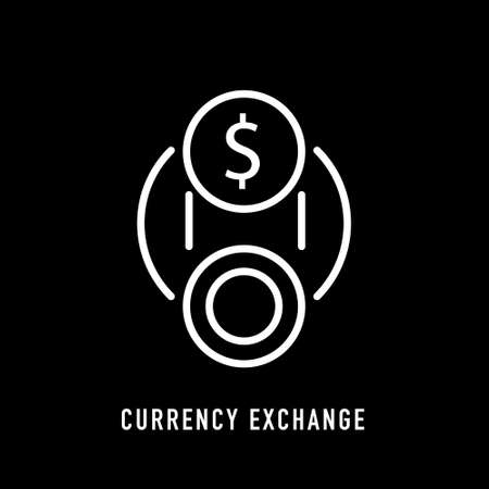 Currency exchange icon in line style on black background. Vector sign