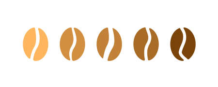 Coffee beans logo. Isolated coffee beans on white background
