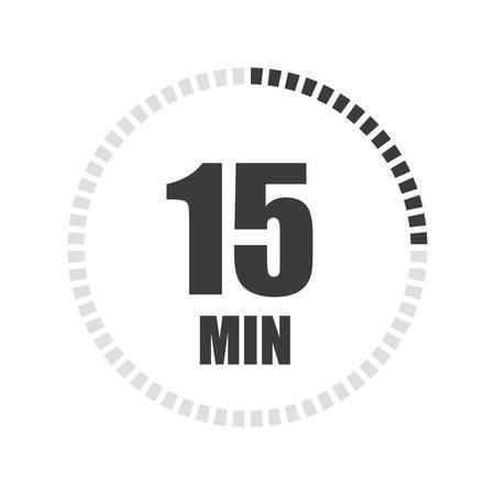 Signe de la minuterie 15 min sur fond blanc. Icône vecteur stock