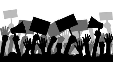 Political protest with silhouette protesters hands holding megaphone, banners and flags. Strike, revolution, conflict vector background.