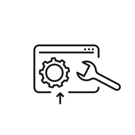 Development vector icon on white background. Line style
